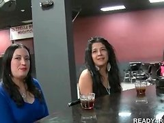 Appealing brunettes picked up for paid sex in a bar