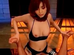 Asian temptress in fishnets gets cunt nailed from behind