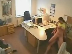 Sexy brunette babe has sex with her boss in an office