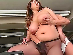 Fat Japanese office chick sucks a cock and gets nailed