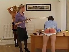 Blonde chick punishes her husband and his lover with spanking