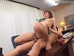 Japanese slut enjoys oral sex and gets her cunt drilled