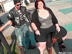 Fat amateur babe riding black guy for cash in public