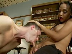 Leo gets fucked by sexy tranny Sunshyne Monroe in a study