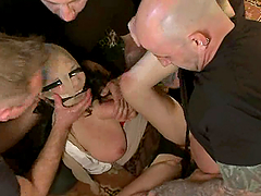Tied up and blindfolded  Mia Rider gets gangbanged