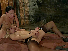 Playful brunette gets rapped by a filthy and old shemale