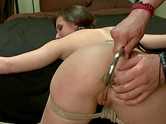 Casey Calvert enjoys having a hook in her ass before getting it pounded