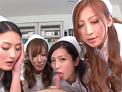 Four lecherous Japanese nurses lick and rub some dude's wang