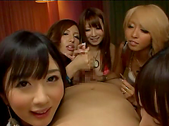 Four hot Japanese girls please a guy orally in POV