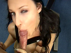 Busty brunette cutie Aletta Ocean blows and gets fucked hard