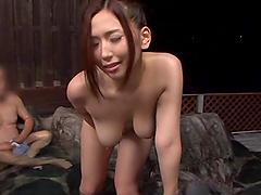 Busty Japanese chick enjoys fingering her vag in the presence of two men