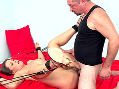 Kinky brown-haired chick gets dominated and fucked by a bulky man