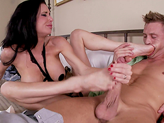 Splendid Veronica Avluv gives a footjob and gets rammed