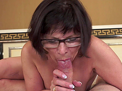Lewd granny toys her hairy cunt before getting it pounded hard