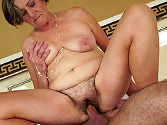 Granny Gets to Suck and Be Fucked by a Stud's Cock