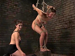 Strapon Fuck after Torture for Submissive Blonde Girl