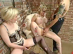 Short-Haired Blonde Gets Toyed and Fucked by Cock and Machine in BDSM