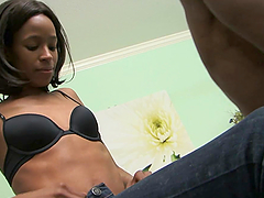 Skinny Ebony Babe Having Fun Sucking and Riding a Big Black Penis