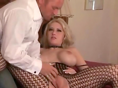 Busty Candy Manson gets fucked from behind in a bedroom