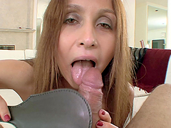 Julia Silver the slutty MILF toys her pussy and sucks a dick