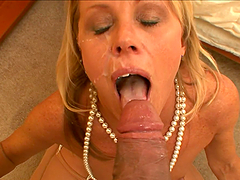 Nikki Charm gets facialed after giving a deepthroat blowjob