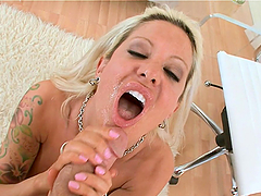 Slender blonde MILF gives passionate blowjob and swallows cum