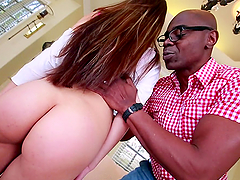 Lily Lust the cute Asian rides big black cock