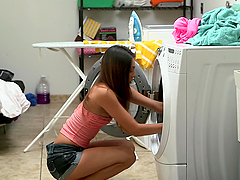 Serena Torres blows devotedly and gets fucked in the laundry