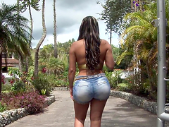Bootylicious Sandra oils her ass up and gets fucked outdoors