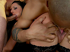 Passionate Destiny gets ass fucked rough in a foursome video