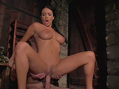 Busty long-legged brunette Anissa Kate enjoys ardent sex in a shed