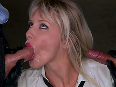 Amazing blonde in police uniform gets double penetrated