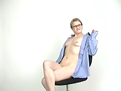 Nerdy blonde in glasses toys her cunt and gives a blowjob to some man