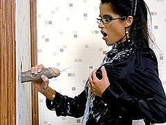 Stunning Brunette In Glasses Getting a Cum Bath From Gloryhole Cock