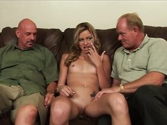 Kinky Blonde Nikki Flame Takes On Two Older Cocks
