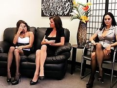 Four Horny Brunette Secretaries Have an Orgy With Their Boss In The Office