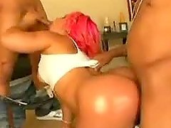 Slutty Ebony Babe With a Thick Round Ass Gets 3somed By 2 Black Cocks