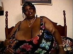 Curvaceous BBBW Mature Norma Stitz Massages Her Humongous Natural Rack