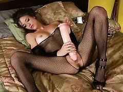 Malena Morgan Masturbates With a Sexy Fishnet Outfit On