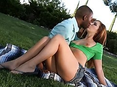 Gorgeous Anal Redhead Ashli Orion Gets Interracially Fucked Outdoors