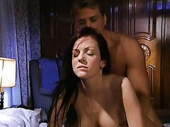 Super Hot Brunette Lesbians Kate More and Mary Eleniak Get Threesomed