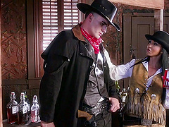 The the bar this cowboy lays the pipe to a busty, horny cowgirl