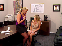 Slutty blondes are fucked in a meeting room by their coworker