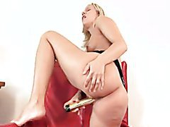 Blonde Bitch Shows her Beautiful Ass as She Masturbates with a Sex Toy