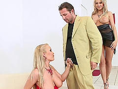 Jessica Moore and Mandy Dee gets nailed by a handsome horny stud