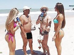 Brazilian Reporter On The Beach With Two Hot Babes