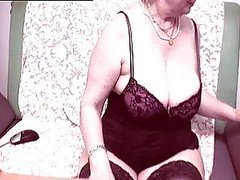 Lingerie Wearing Granny Shows Her Body If Front Of A Webcam