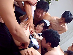 Breath-taking gangbang action with a sexy Japanese maid Mitsuki