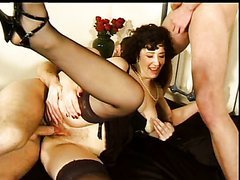 Smoking Hot Milf Wears Black Lingerie In A Threesome
