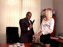 Hot blonde in a miniskirt giving her dude a fancy blowjob before getting nailed doggystyle at the office